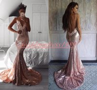Wholesale black white v neck fitted dress online - Sexy Backless Sequined Mermaid Prom Dresses Lace Fitted k19 Formal Party Wear African Black Girl Evening Gowns Guest Wear Robe De Soiree