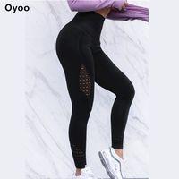 одежда йоги высокого качества оптовых-Oyoo Super Models Chic Twist Компрессионные Колготки Высокого Качества Спортивные Леггинсы Женские Белые Сетки Йога Брюки Фитнес Тренажерный Зал Одежда C190420