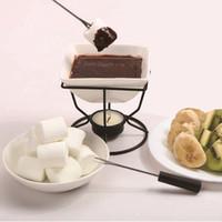 Ceramic Chocolate Melting Oven White Porcelain Cheese Chocolate Fondue Set With Black Iron Tealight Burner And Forks Gga2850