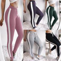 Wholesale green yoga pants online - Womens Jogger Pants New Arrival Women Sport Pants Solid Color Ladies Yoga Joggers Capris Hot Sell Womens Clothing Size S XL