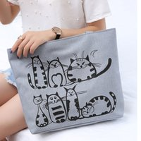 Wholesale cat embroidery bags for sale - Group buy Women Cute Cartoon Cat Print Canvas Shoulder Bag Zipper Casual Tote Shopping Handbag New