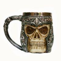 ingrosso regali di birra per gli uomini-Halloween 3D Scull Molding Cups Acciaio inossidabile Scull Coffee Cup Teschio in acciaio inox Tazza da caffè Viking Skull Boccali di birra Regalo per gli uomini Padre