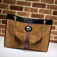 Wholesale deerskin leather bags resale online - Top Quality Design Letter Ribbon Cat Head Shoulder Bag Deerskin Leather Woman Xxl Shopping Tote Handbag