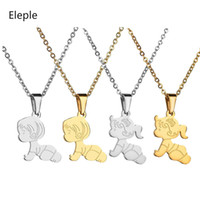Wholesale baby boy girl pendant resale online - Eleple Cartoon Crawling Baby Boy Girl Necklaces for Women Men Stainless Steel Fashion Gifts Jewelry Pendant Necklace S N587