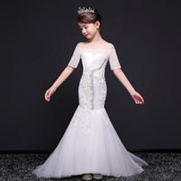 meninos novos modelos vestido venda por atacado-2019 vestido das Crianças novas meninas princesa grande modelo de menino catwalk show magro longo fishtail vestido branco