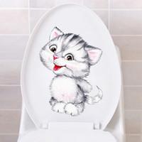 papel de parede bonito do banheiro venda por atacado-Muito parede bonito gatinho dos desenhos animados adesivos para banheiro WC Sala Início decoração arte decalques Poster wallpaper mural