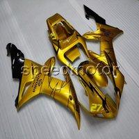 yamaha yzf r1 carenados personalizados al por mayor-Custom + Screws carenado de motocicleta ABS de oro para Yamaha YZFR1 02-03 YZF-R1 2002 2003 Body Kit paneles de motor