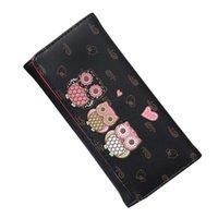 owl print wallets toptan satış-Uzun Kadın Cüzdan Basit Retro Baykuş Baskı Uzun Cüzdan Madeni Para Cüzdan Kart Sahipleri Çanta
