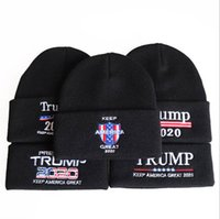 Wholesale usa winter cap resale online - Trump Beanie Donald Knit Winter Hats Re Election Keep America Great Skullies Caps Embroidery USA Flag Cap Casual Beanie Ski Hat D6352