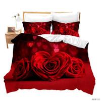 Wholesale 3d bedding set roses resale online - 3D Rose Floral Print Duvet Cover Set with Pillow Cases Flower Plant Bedding Bedspreads NO QUILT Boys Girls Teens Kids Birthday Gifts
