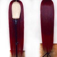 perruques bourgogne achat en gros de-Ombre 1B 99J Bourgogne Rouge Coloré 13 * 6 Avant de Lacet Perruques de Cheveux Humains 360 Frontale Preplucked Droit Remy Brésilien Pour Femme Noire
