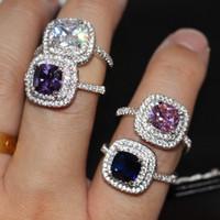 lüks mücevherat takı setleri toptan satış-Döşemek Ayar 4 Renk Çift sıra CZ Elmas Lüks Takı 925 Ayar Gümüş Çarpıcı Safir Taşlar Parti Hediye Kadınlar Düğün Band Yüzük