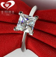 Wholesale fine jewelry wedding rings for sale - Group buy 2CT Solid Sterling Silver Wedding Anniversary Square Moissanite SONA Diamond Ring Engagement BAND Fine Jewelry Men Women Brithday Gift