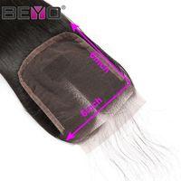 cheveux remy brésiliens 14 pouces achat en gros de-6x6 Fermeture Dentelle Fermeture Droite Cheveux Brésiliens Fermeture de Cheveux Humains Trois / Libre / Partie du Milieu Naturel Couleur 8-20 Pouce Remy Beyo