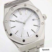braceletes de mão mens venda por atacado-Royal Oak White Dial Automático Mecânico Transparente Voltar Mens Watch Relógios 41 MM Pulseiras de Aço Inoxidável Pulseira Três Mãos Vendido por