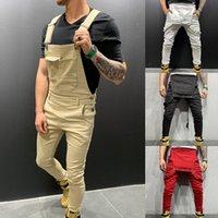 overalls mit hosen großhandel-High Street Pockets Jeans Herrenmode Slim Fit Denim Overalls Modisch Strap Overalls Lässige Hosenträger Distressed Jeans Pant