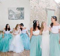 ingrosso vestito verde tutu tutu-Mint Green tutù di tulle gonna abiti da sposa 2020 una linea di Beach Party Wedding Gown Piano Gonna