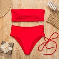 maillot de bain push-up bandeau rouge achat en gros de-Bandeau maillot de bain sexy 2019 nouveau maillot de bain rouge femmes taille haute Biquinis maillot de bain blanc maillot de bain à bretelles Push up Beachwear