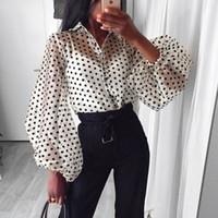 блузки женские оптовых-Мода Dots Блуза женщин сексуальный Sheer горошек органзы Блуза Топ Perspective Puff рукавом Blusas Женские рубашки