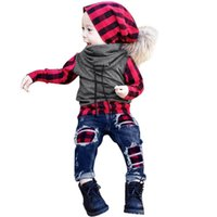 baby kleinkind jeans denim großhandel-Baby Kleidung Set Kleinkind Baby Jungen Langarm Plaid Splice Tops + Jeans Denim Hose Set Outfits Kinder Top Shirts