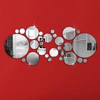 kreis wohnkultur großhandel-30 Stücke DIY Acryl Kunst Aufkleber Spiegel Kreis Silber Spiegel Wandaufkleber Home Schlafzimmer Büro Decor Wandbild Dekoration