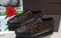 prateleiras de moda venda por atacado-LV primavera novas prateleiras dos homens sapatos casuais moda esportiva sapatos baixos moda xadrez patchwork 2019 dos homens clássicos moda casual sapatos