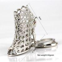 новые туфли на каблуке модели оптовых-New Metal High Heels Shoe Pendant Model Keychain Crystal Bright Car Keyring