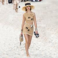 frauen halbe hemden großhandel-Womens Brand Zweiteiliges Kleid Kurzärmeliges Luxuskleid Ärmelloses Hemd + Kurzer Rock Zweiteiliges Set Jacquard Weave Camisole Halber Rock