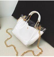 Wholesale wholesale jelly purses handbags online - Women Transparent Handbag PVC PU Shoulder Bag Jelly Female Messenger Bag Tote Girl Bolsas Beach Bag Purses Clear MMA1224