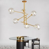 Wholesale magic glass ball light for sale - Group buy Modern personality magic beans glass pendant lamp designers tree branches glass balls Hanging lamp Modern light fixture