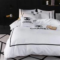 kral yatak takımları toptan satış-Beyaz Kraliçe Kral Yatak Takımları Yeni Moda Marka Tüm Pamuk Yatak Takım Elbise Nakış Tasarım X Mektup Yatak Örtüsü Takım