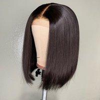 ingrosso migliori peli umani-Le migliori parrucche non trattate per capelli umani Taglio corto Bob per donne Liscio dritto peruviano vergine pre pizzicato Parrucca piena frontale in pizzo Bob