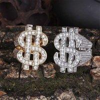 ingrosso monili di modo del dollaro-US Dollar carattere Uomo 18K Gold Ring Copper Charm Argento Colore Cubic Zircone Iced Fashion Hip Hop Jewelry