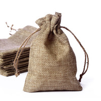 Wholesale small burlap bags resale online - 10 cm Brown Burlap Drawstring Jute Bags Vintage Wedding Parties Favors Small Gift Bags Jute Packaging Bag Set Of