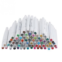 Wholesale note paper set resale online - 80 colors Alcohol Oily Dual Brush Art Marker Pen Set For Coloring Highlighting Underlining