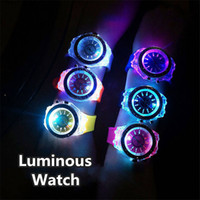 Wholesale watch women jelly resale online - Led Flash Luminous Watch Color Personality Trends Students Lovers Jellies Woman Men s Watches Light WristWatch Relogio Masculi