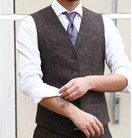Country Farm Wedding Vests Brown Wool Herringbone Tweed Vests Custom Made Groom Vest Slim Fit Mens Suit Vest Wedding Waistcoat Plus Size