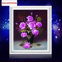 jarrones morados al por mayor-DIY 5D Diamantes Bordado Purple Rose Jarrón Magic Cube Round Diamond Painting Kits de punto de cruz Diamond Mosaic
