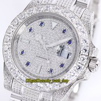 Wholesale best watch diamonds mens for sale - Group buy Best Version mm New Sub Automatic Mens Watch Gypsophila Dial Big Diamond Bezel Steel Diamond Bracelet Watches