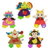 poupées de bébé achat en gros de-Animal En Peluche Poupée Bébé Jouets Bande Dessinée Apaiser Serviette De Bain Divers Styles Doux Abrasion Résistant 10 5tj F1