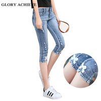 modern artı giyim toptan satış-Yaz Casual Kadın Kot Artı Boyutu Elbise Moda Capri Skinny Jeans Kadın Yırtık Streç Patchwork Denim Capri pantolon Y19042901