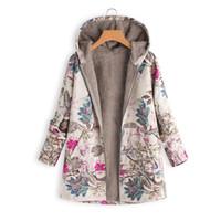 chauffe-poche vintage achat en gros de-KLV 2019 Mode Hiver Chaud Outwear Floral Print Hoodies à capuche Vintage manteaux surdimensionnés 116