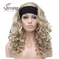 kıvırcık sarışın sentetik peruk toptan satış-Long Blonde Kıvırcık Isı Tamam Sentetik KULAKLIK Peruk Golleri