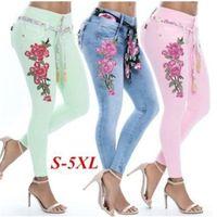 leggings stretch flor venda por atacado-Bordado Calça Jeans Stretch Leggings Apertado Calças Fitting Senhoras Frenulum Flor Cores Mix Casual Bolsos Moda 35kk f1