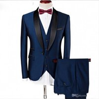 Wholesale custom tuxedos resale online - 2020 Custom made Handsome wedding suits Slim Fit Groom Tuxedos formal wears Shawl Lapel Groomsman suits Jacket Pants vest