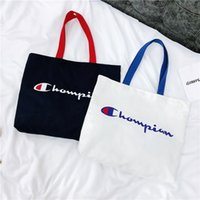 Wholesale macbook sales for sale - Group buy Women Champion Bag Letter Print Canvas Bag Large Capacity Shoulder Bags Outdoor Sports Travel Handbags Storage Bags Hot Sale C423