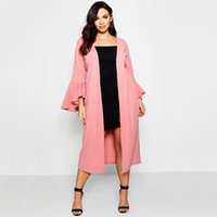 плюс размер белого пальто оптовых-5xl 6xl Plus Size Women Trench Fashion Ruffle Sleeve Open Stitch Autumn Winter Long Coat Casual Pink White Clothing