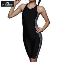 trajes de carreras femeninas al por mayor-PHINIKISS longitud de la rodilla Negro Racing de una sola pieza del traje de baño de las mujeres Triathlon traje de una pieza grande del tamaño del traje de baño Mujer Profesional