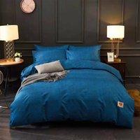 light orange tröster großhandel-MENGZIQIAN Leichte Luxusbettwäsche Bettdecken-Sets Designer King Size Bettwäschesatz 4-teilig Einfache einfarbige Bettgarnitur