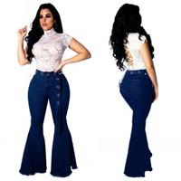 femme ceintures photos achat en gros de-2019 Hot New Femmes Bleu Foncé Bootcut Jeans De Mode Taille Haute Ceinture Haute Elasitc Flare Bas Long Denim Pantalon Pantalon Casual Real Photos